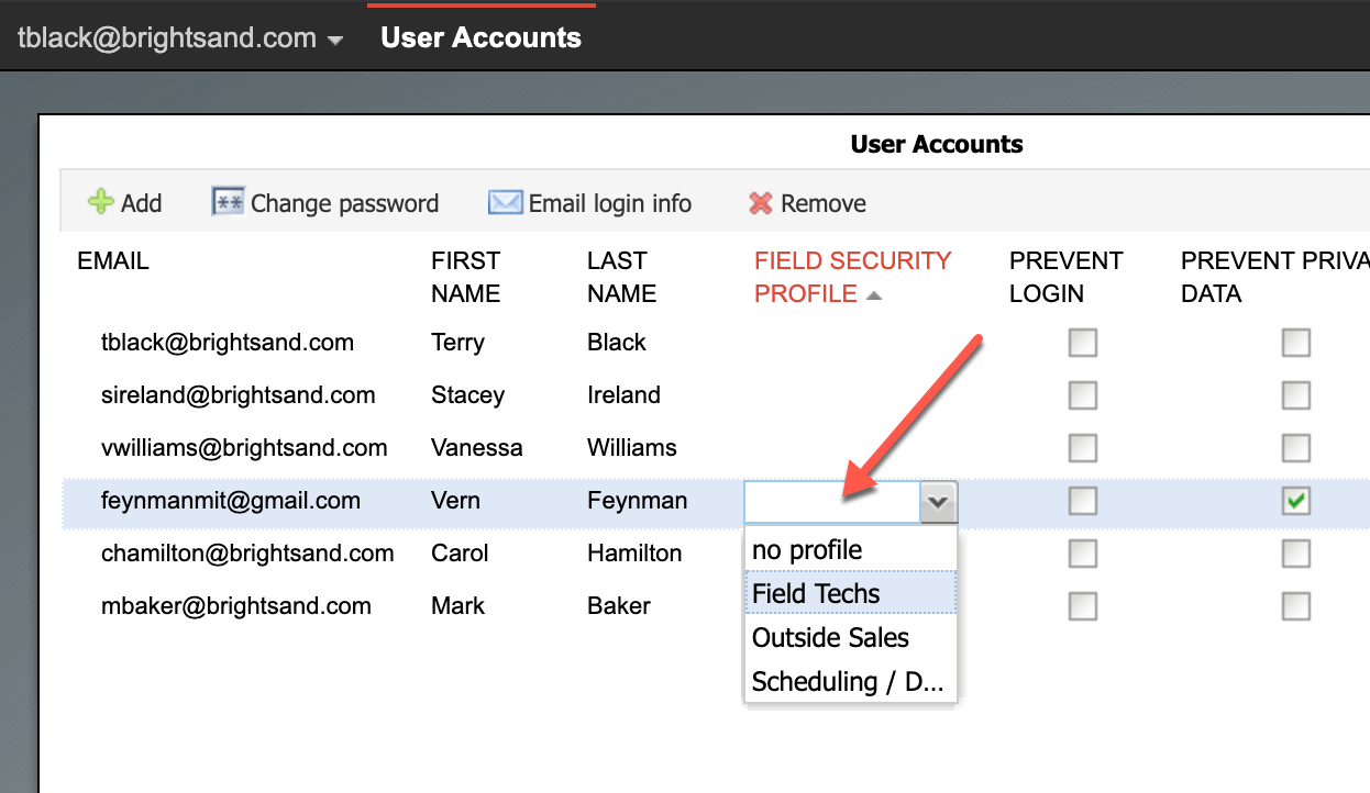 CRM field permissions