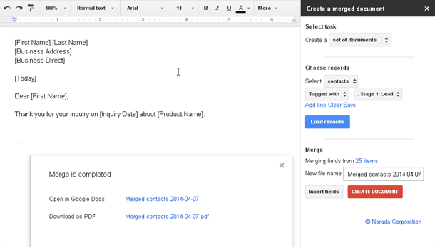 google docs mail merge